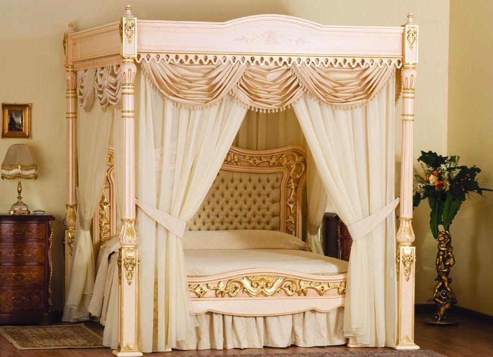 Decor de dormitor romantic cu pat alb cu perdea