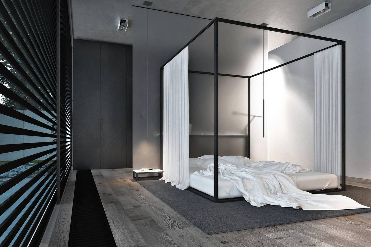 Dormitor modernist si pat cu baldachin fara tesaturi