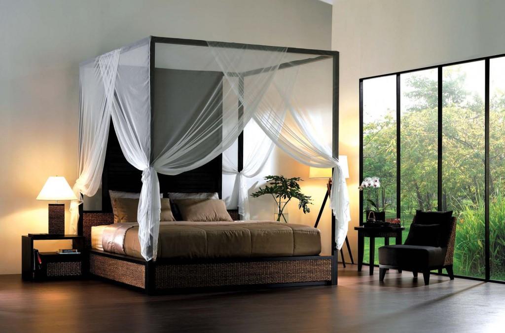 Pat modern cu baldachin din lemn, interior minimalist