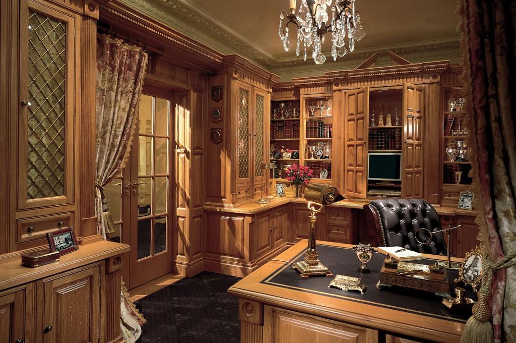 Birou gentleman englez cu biblioteca din lemn si scaun cu piele