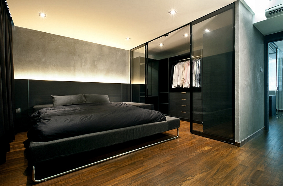 Amenajare unui dormitor minimalist in stil masculin