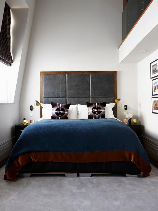 Amenajarea in stil masculin a dormitorului - tablie de pat tapitat