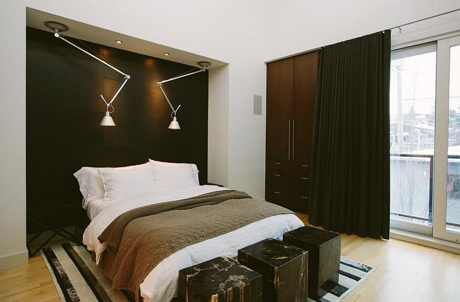 Dormitor masculin cu dressing si taburete din marmura