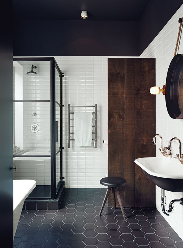 Amenajarea in stil masculin - baie in alb si negru