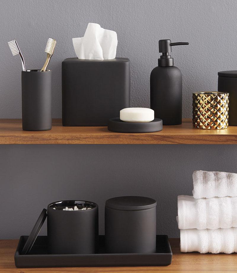 Accesorii de baie din ceramica neagra