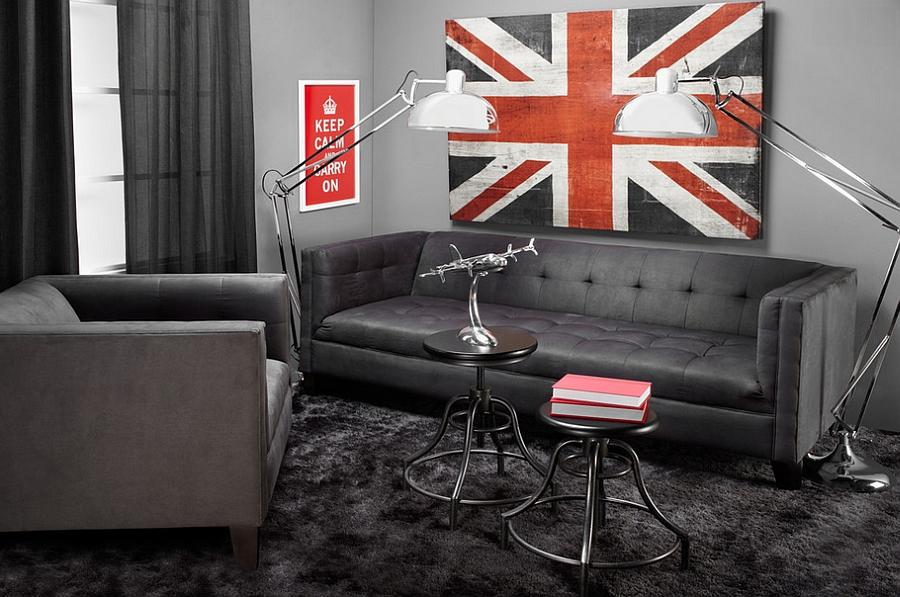 Living amenajat masculin: canapea si fotoliu minimaliste, masute de cafea vintage industriale, lampadare din otel