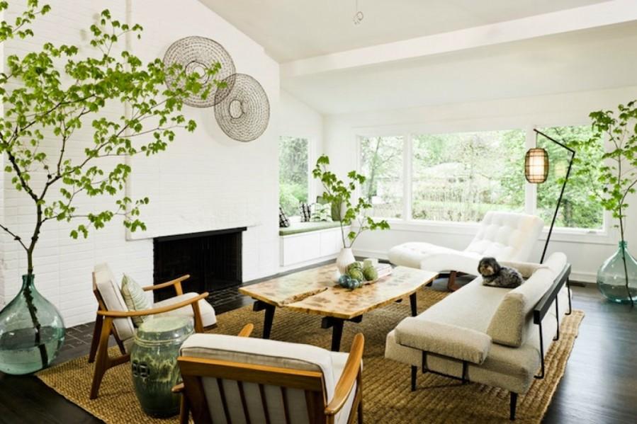 decor-sufragerie-plante-semineu-pereti-albi