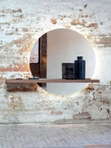 Amenajare hol intunecat - oglinda mare rotunda
