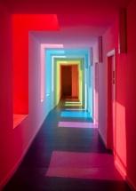 Amenajare hol scoala gradinita cu pereti in culori vesele