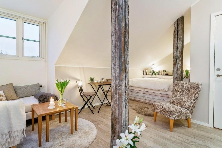 Spatiu mixt - living si dormitor cu aer scandinav