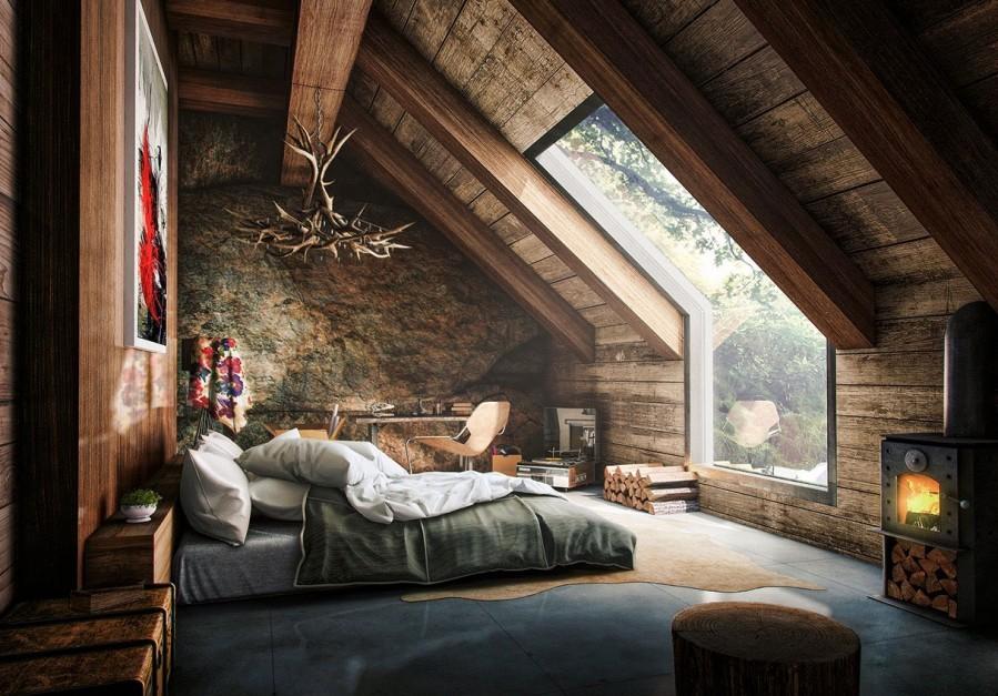 Dormitor rustic la mansarda unei cabane