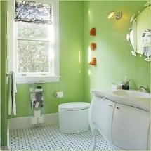 amenajarea baii in culoarea verde 2