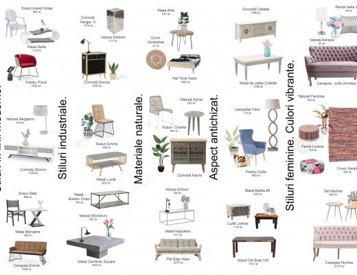 Amenajari in stiluri moderne, industriale cu materiale si culori variate.