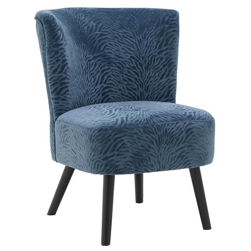 O tapițerie albastră cu model vegetal în relief.