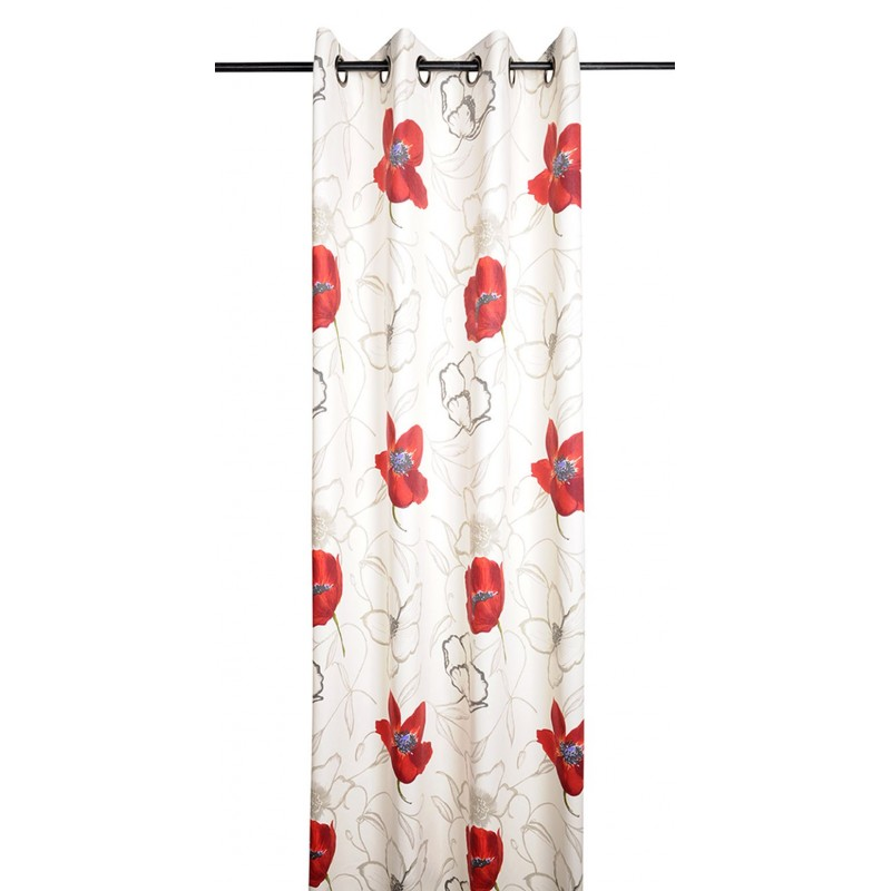 Draperie flori mac roșu bumbac Appoline 135x250 cm