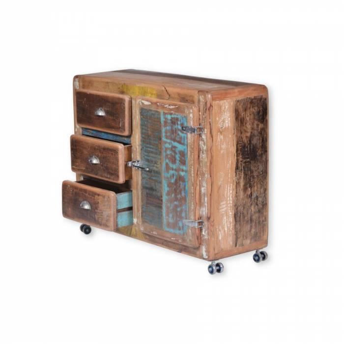 Comodă cu trei sertare din lemn exotic Old Boat