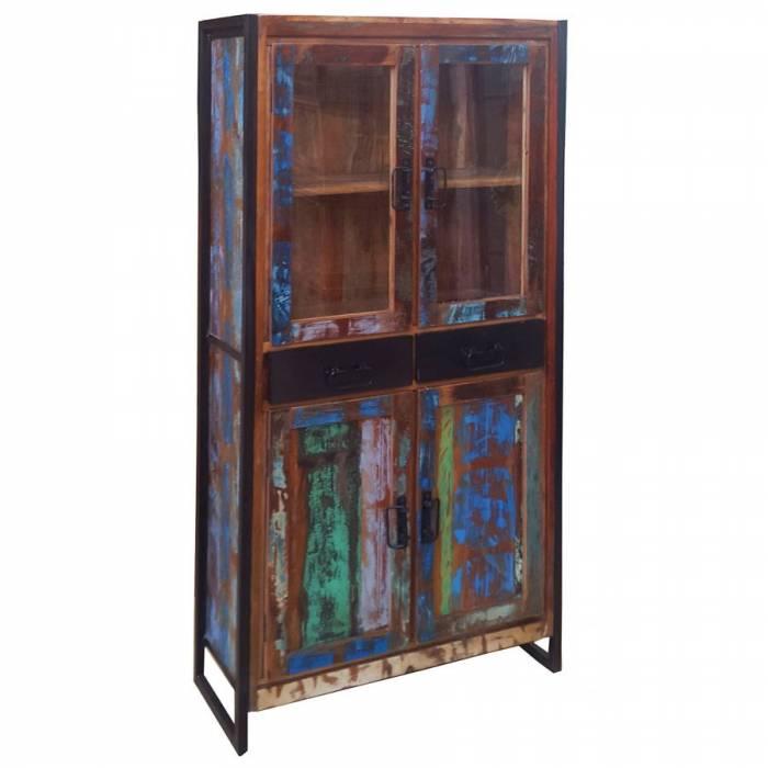 Dulap cu vitrină din lemn reciclat Indochina