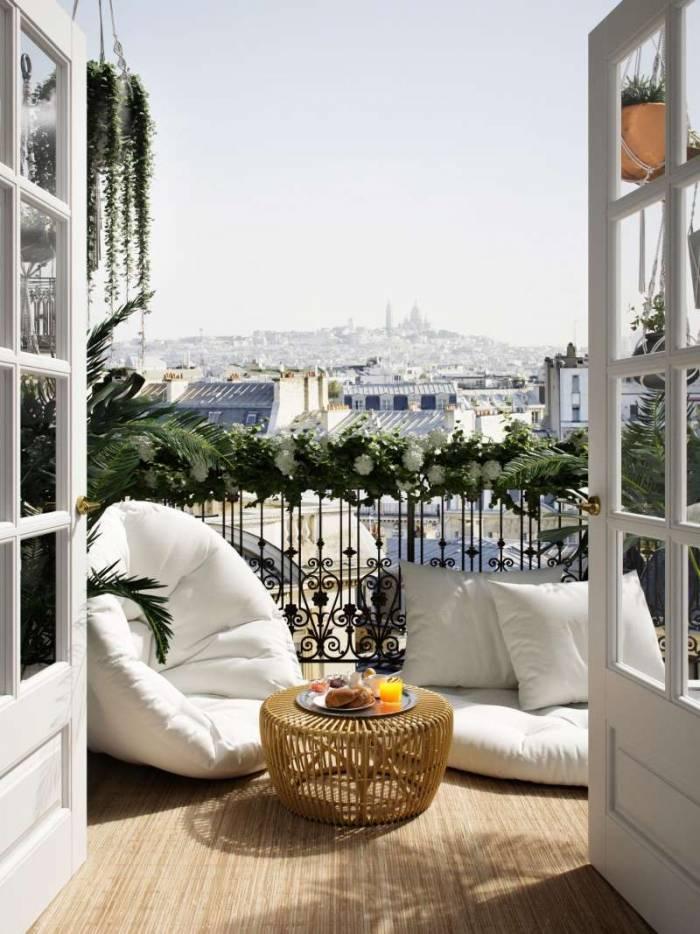 Fotoliu extensibil alb pentru terasă Nido OUT