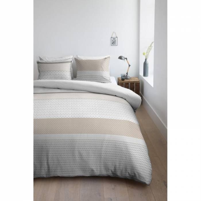 Lenjerie de pat modernă satinată Aaron Sand 200x200/220 cm