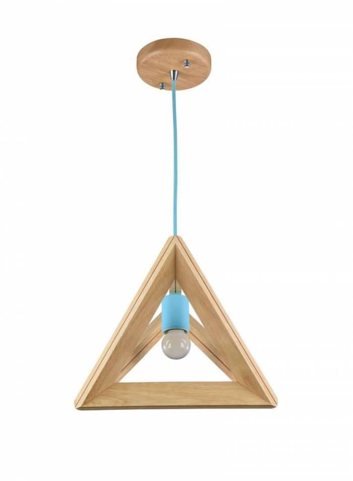 Lustră din metal și lemn Pyramide