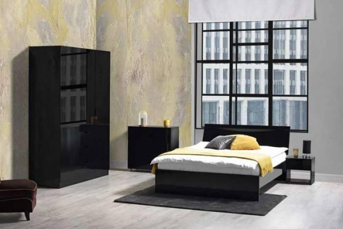 Pat negru cu somieră Letty Black 160x200