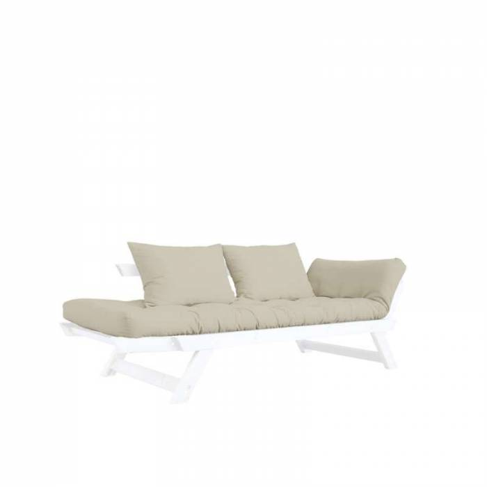 Canapea extensibilă bej 2 locuri Bebop White