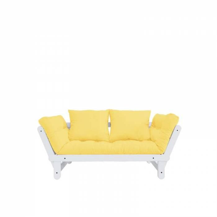 Canapea extensibilă galbenă Beat White