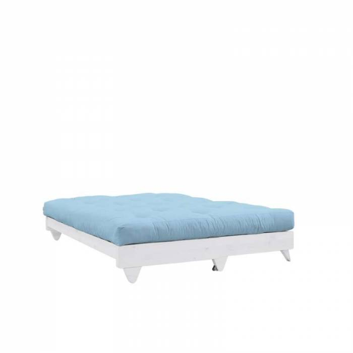 Canapea extensibilă textil bleu deschis Fresh White