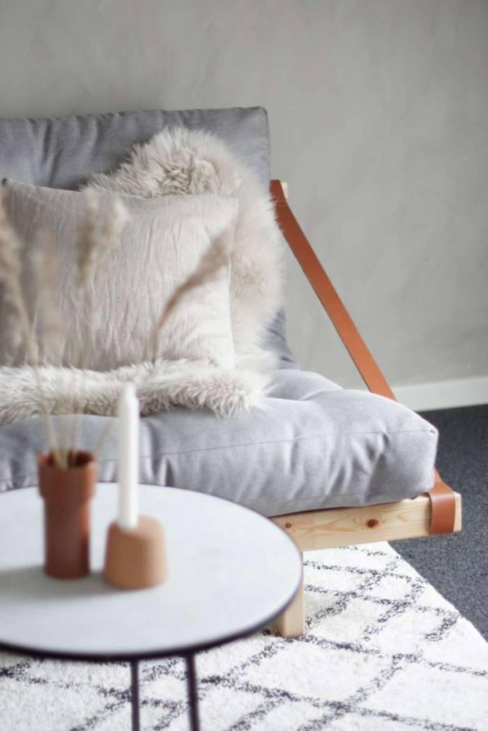 Canapea extensibilă textil bleumarin Jump Natur