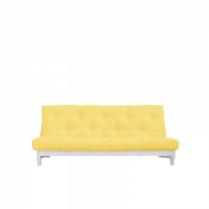 Canapea extensibilă textil galben Fresh White