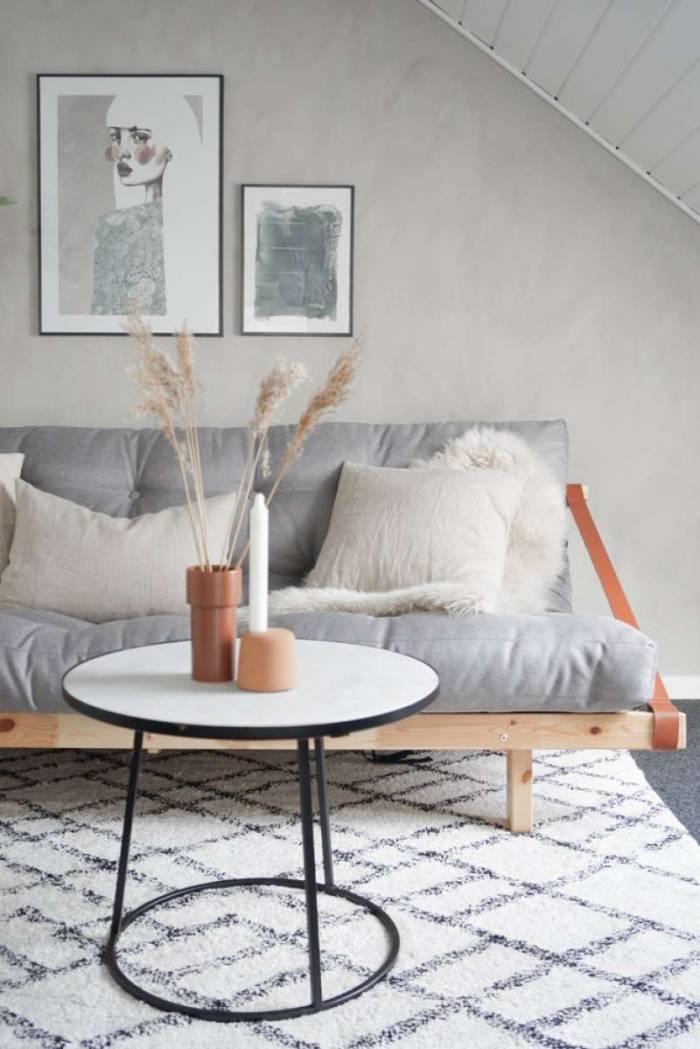 Canapea extensibilă textil gri Jump Natur