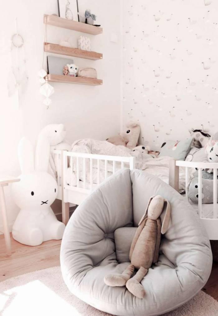 Fotoliu pentru copii, tapițerie crem Mini Nido