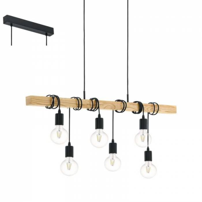 Lustră pendul cu 6 brațe Townshend,  E27 6X60W, metal/lemn, negru/maro