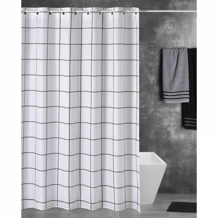 Perdea de duș în carouri Eridam 180x200 cm