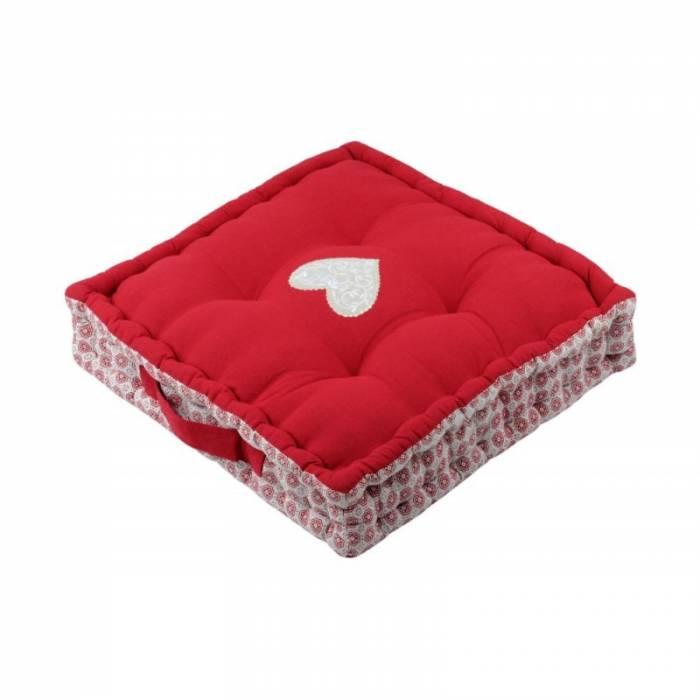 Pernă roșie podea Darla Rouge 45x45x10 cm