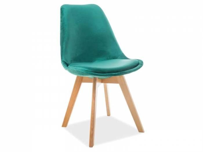 Scaun de dining Dior 50x83x48 cm, textil/lemn, verde