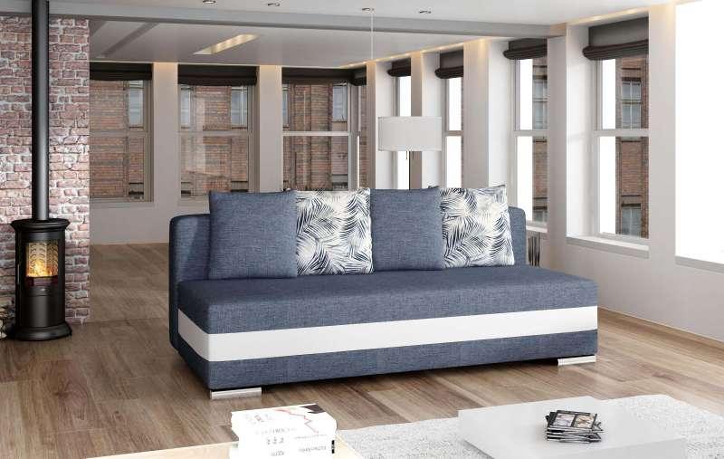 Canapea extensibilă Calia White Blue 83x86x195 cm spuma/ lemn/ poliester/ plastic/pvc alb/ albastru