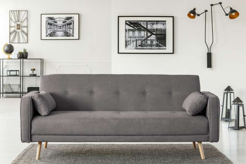 Canapea extensibilă Stuttgart 3 locuri gri 212x93x85 cm