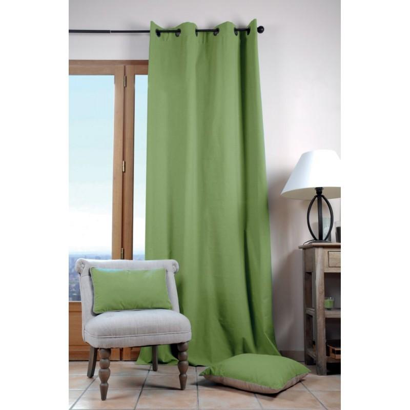 Draperie verde din bumbac Duo Uni Mousse 135X240 cm