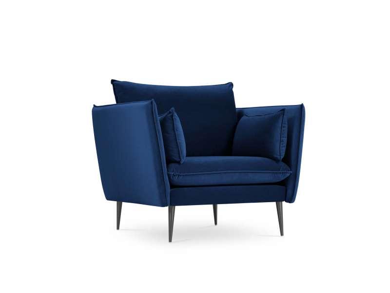 Fotoliu clasic Justin 97x100x78 cm catifea/ metal/ lemn de pin/ pal/ placaj albastru