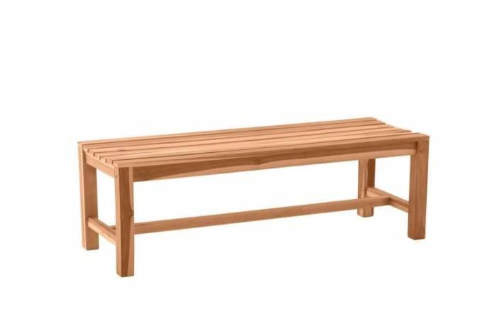 Bancă făra spătar pentru grădină Omega, 45x150x42 cm, lemn, bej
