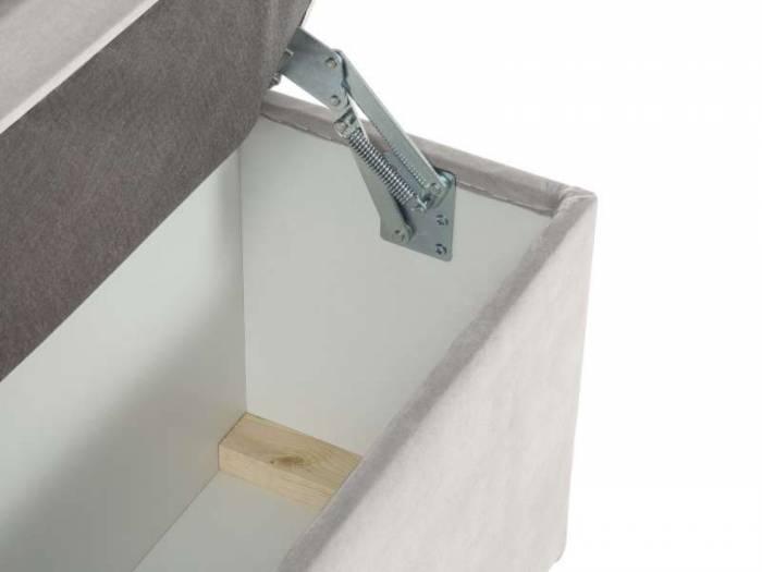 Banchetă cu depozitare Yolanda, 47x34x180 cm, catifea/ plastic/ lemn de pin/ pal/ placaj, bej