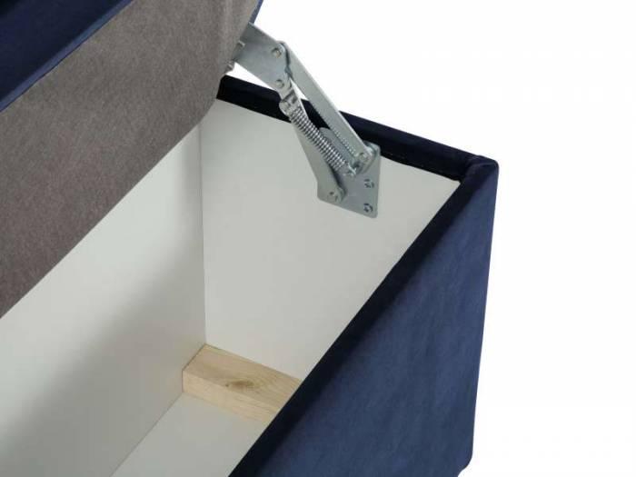 Banchetă cu depozitare Yong , 47x34x160 cm, catifea/ plastic/ lemn de pin/ pal/ placaj, albastru