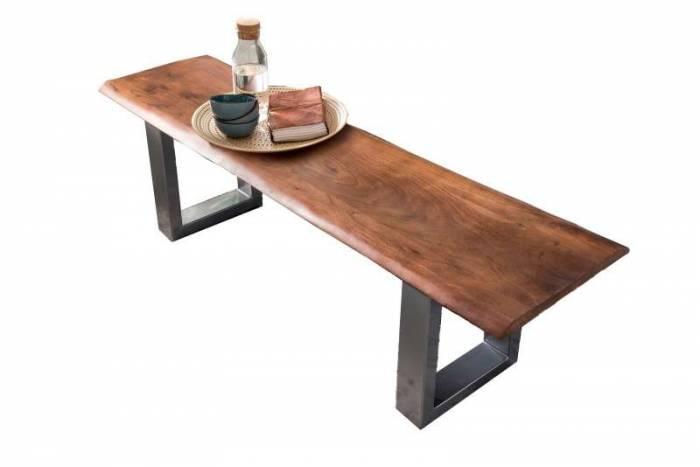 Banchetă dining Freya, 46x40x150 cm, acacia/otel, argintiu/maro