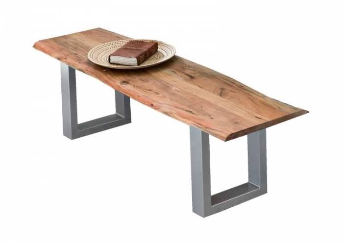 Banchetă dining Freya, 46x40x150 cm, acacia/otel, argintiu/negru