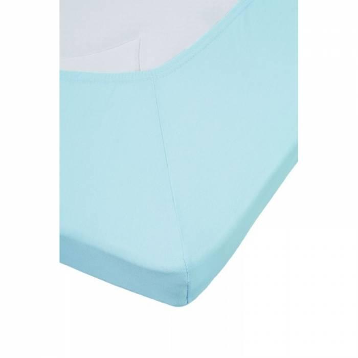 Cearceaf albastru cu elastic bumbac 80x200 cm Jersey Light Blue