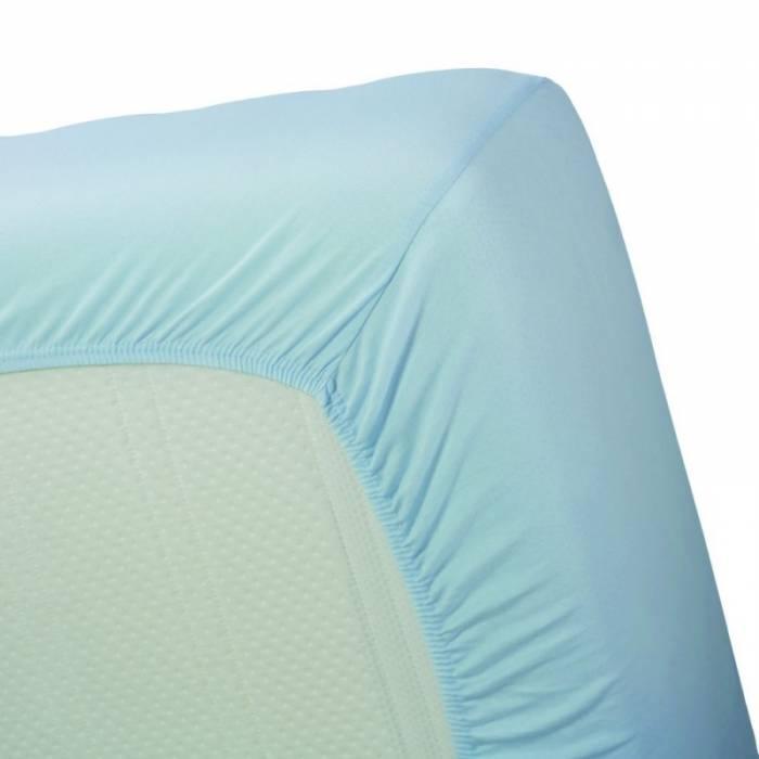 Cearceaf albastru de pat bumbac 160x200 cm Jersey Light Blue