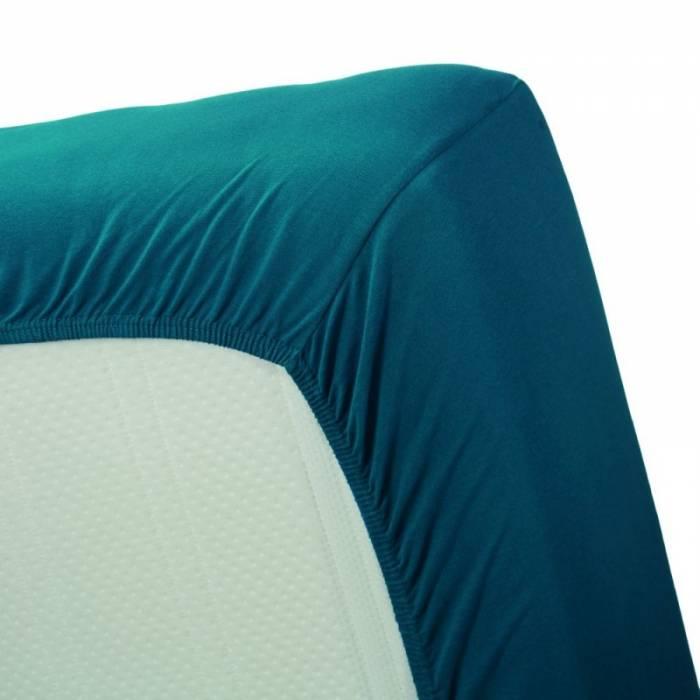Cearceaf turcoaz de pat 160x200 cm Jersey Sea Green
