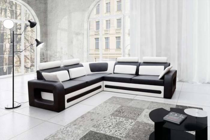 Colțar dreapta Bergamo Black White, 63x98x290 cm, lemn/ spuma/ pvc/ plastic, alb/ negru