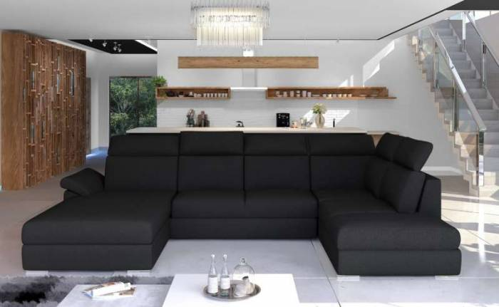 Colțar stânga Evanell Black, 60x103x216 cm, spuma/ lemn/ poliester/ plastic, negru
